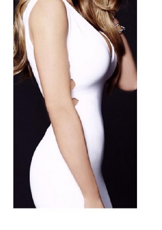 dress tight white dress low cut v cut-out dress