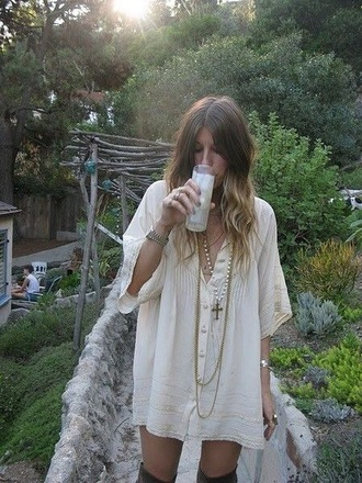 dress boho shift dress cream dress