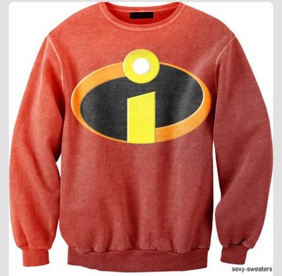 sweater disney disney clothes red disney sweater sweatshirt crewneck incredible