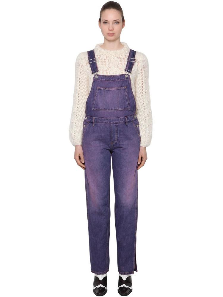 GANNI Washed Cotton Denim Overalls in purple