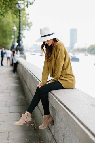 shoes tumblr boots nude boots ankle boots mid heel boots leggings black leggings sweater mustard hat white hat pants