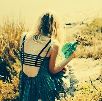 dress tumblr clothes backless summer outfits blue dress floral bralette black cut out top top boho underwear tank top