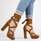 Stella lace up heels in tan faux suede