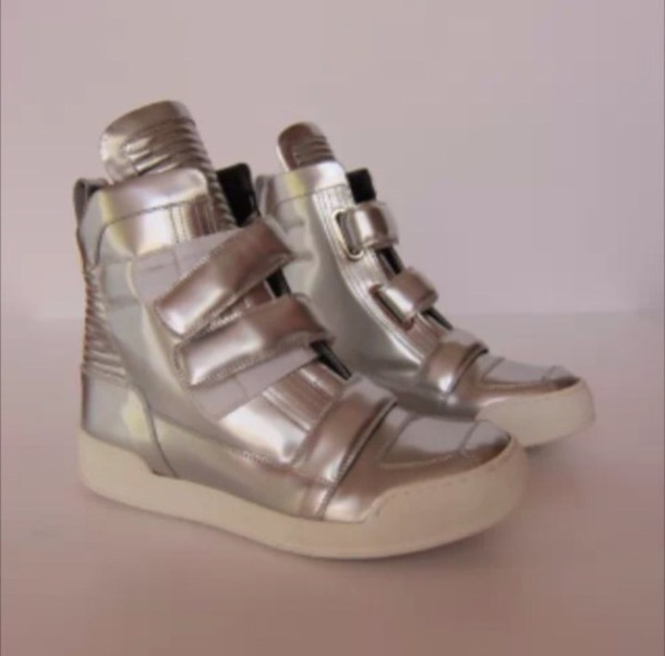 shoes balmain biker boots silver sneakers