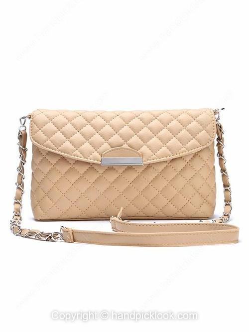Khaki Magnet Quilted Embellished PU Clutch Bag - HandpickLook.com
