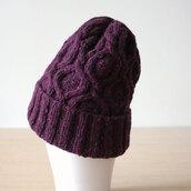 hat,beanie,donegal,Merino wool,purple hat,purple beanie,wool,berry,casual chic