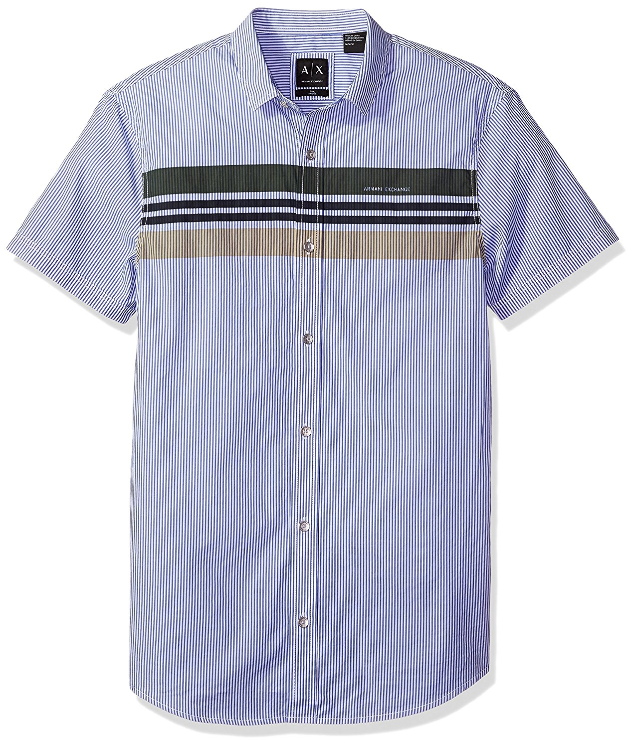 Amazon.com: A|X Armani Exchange Men's 3 Stripe Front Detail Short Sleeve Woven: Clothing