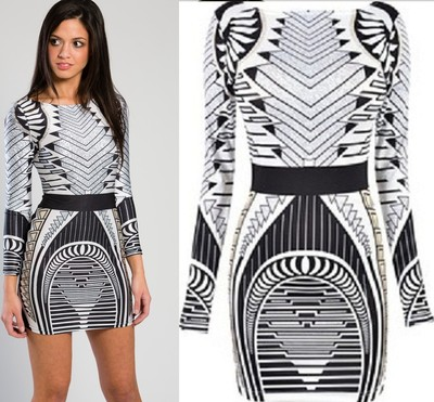 Aztec black and white longsleeve tribal bodycon mini dress large asos