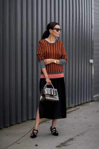 skirt copenhagen fashion week streetstyle pleated pleated skirt midi skirt sweater fall outfits shoes black shoes bag metallic sunglasses