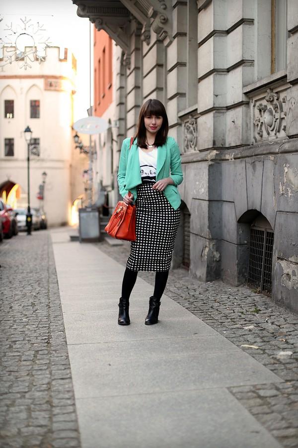kapuczina blogger bodycon skirt pencil skirt blazer purse