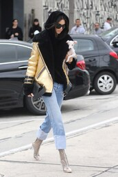 jacket,tumblr,gold jacket,metallic,metallic jacket,sweater,black sweater,denim,jeans,blue jeans,cuffed jeans,boots,clear boots,transparent boots,high heels boots,ankle boots,kendall jenner,celebrity style,celebrity,model,model off-duty,streetstyle,sunglasses,hoodie,black hoodie,vue boutique,chucky heels,shoes