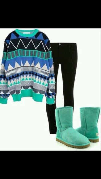 sweater grey aztec, blue, black, green