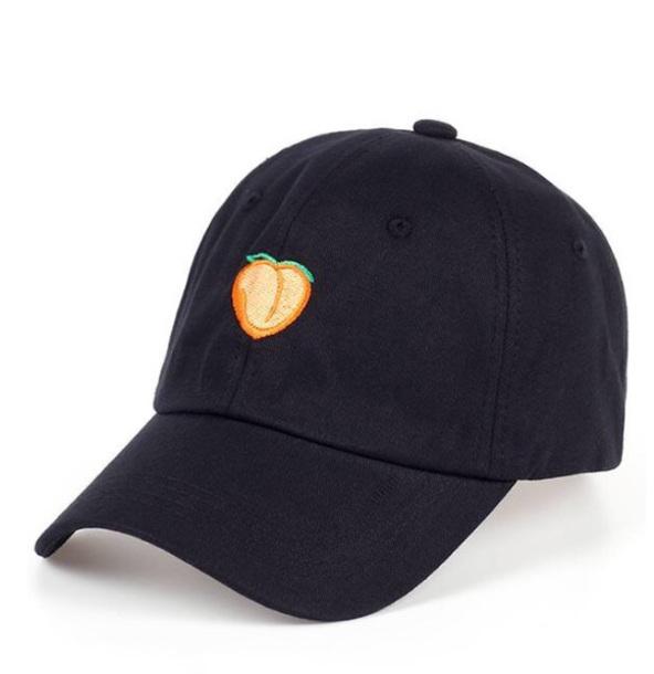 hat girly black peach cap