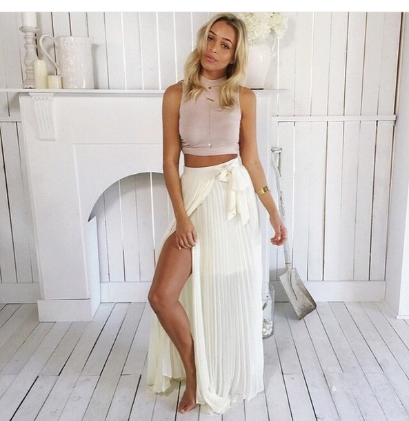 skirt maxi skirt maxi style fashion top crop tops white top white crop tops slit skirt high waisted skirt white skirt outfit two-piece slit maxi skirt