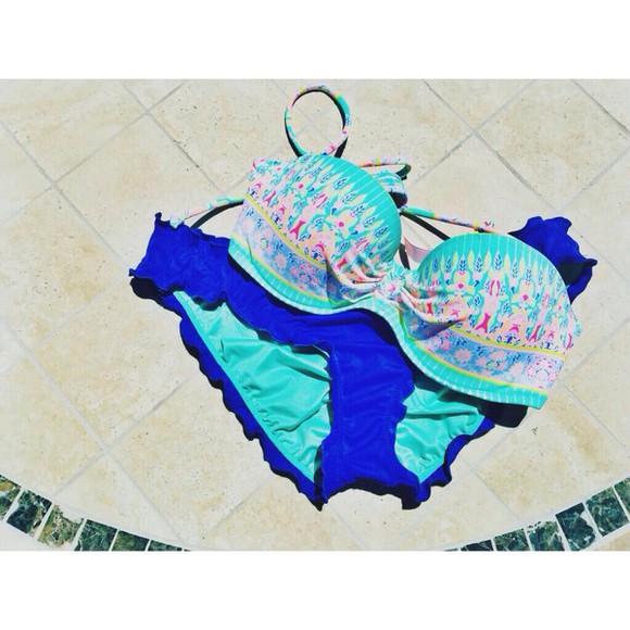 swimwear blue bikini blue bikini bottom printed bikini