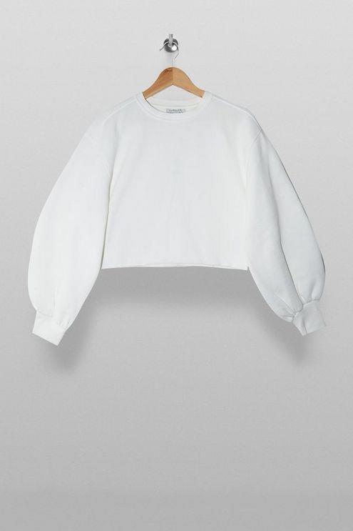 White Cropped Sweatshirt - White
