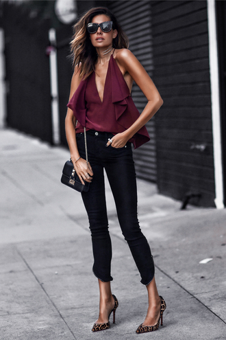 fashionedchic blogger top jeans shoes bag sunglasses fall outfits burgundy top shoulder bag pumps high heel pumps