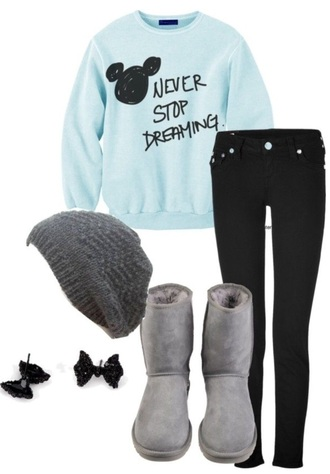 leggings jeans hair accessory shoes underwear sweater