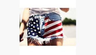 shorts high waisted shorts red white and blue flag high waisted shorts frayed shorts july 4th