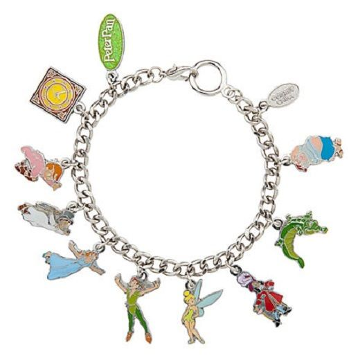 "Disney Peter Pan 10 Charm Bracelet 8 5"" Wendy Tinkerbell Captain Hook Mr Smee 