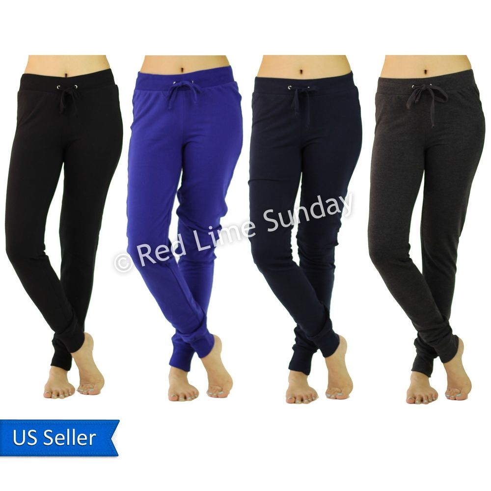 Women Casual Cotton Comfy Drawstring Joggers Jogging Pants Trucksuit Bottoms