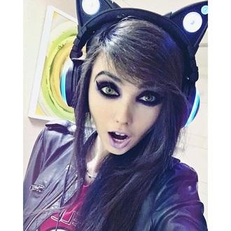 earphones eugeniacooney black cats headphones