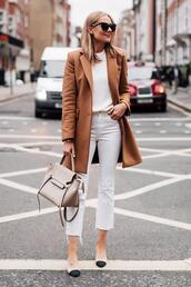 fashionjackson,blogger,coat,sweater,jeans,shoes,sunglasses,bag,fall outfits,chanel shoes,fall colors,white sweater
