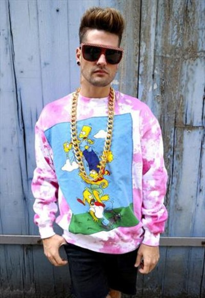 tye dye sweater pink sweater gold chain unisex simpsons sweater