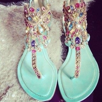 shoes jewels stone sandals pink