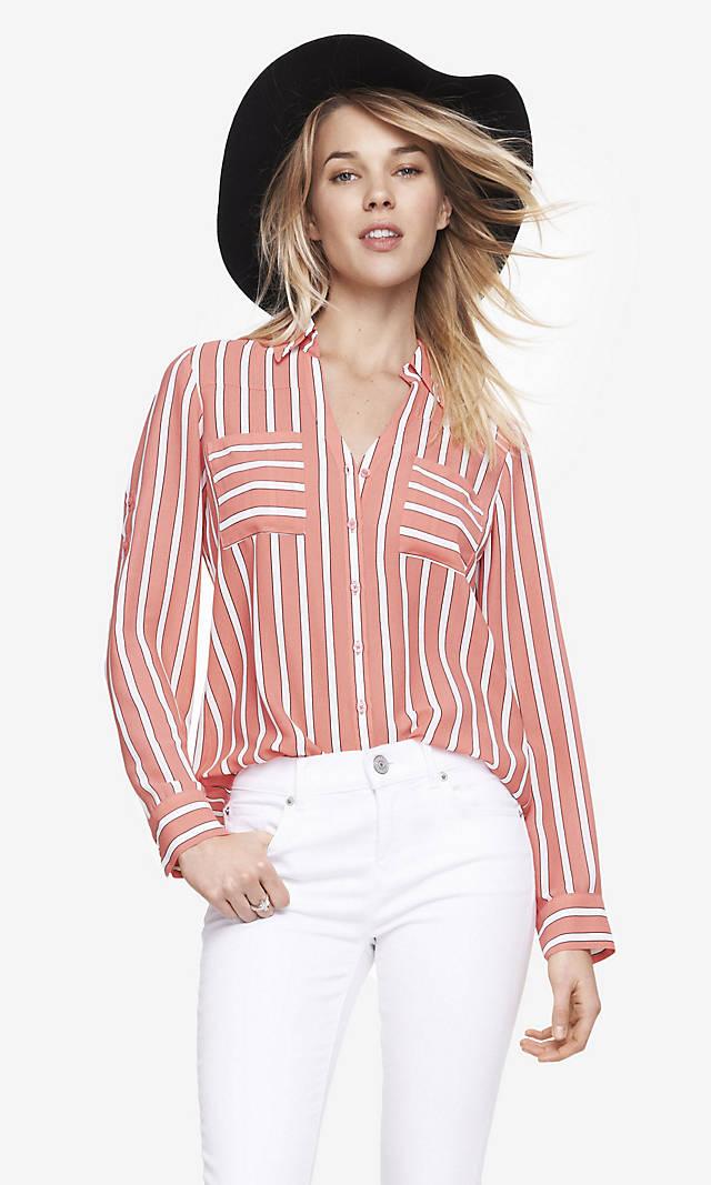 Striped Convertible Sleeve Portofino Shirt From Express