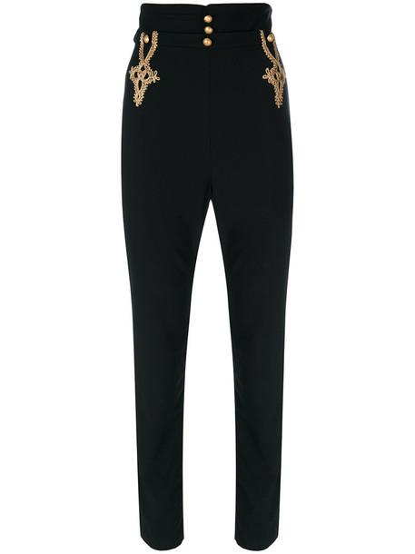 LA PERLA high waisted high women spandex black wool pants