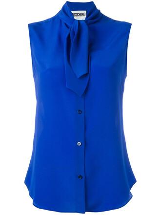 blouse sleeveless women blue silk top