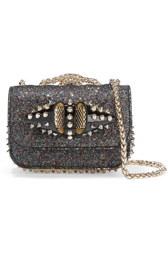 mini studded sweet bag shoulder bag leather metallic black