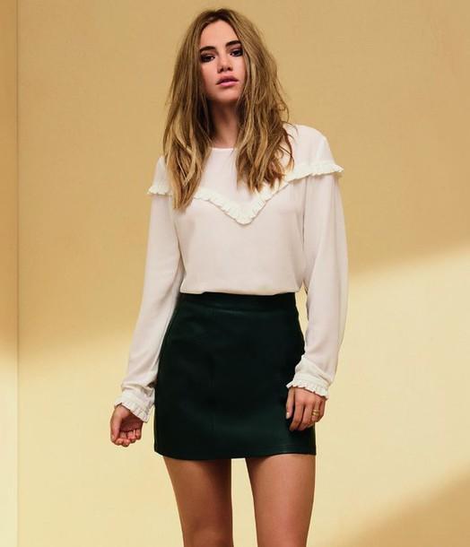 blouse skirt mini skirt model suki waterhouse long sleeves top