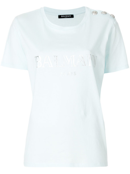 Balmain t-shirt shirt t-shirt women embellished cotton blue top