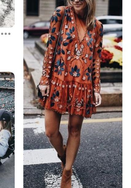 dress orange floral dress