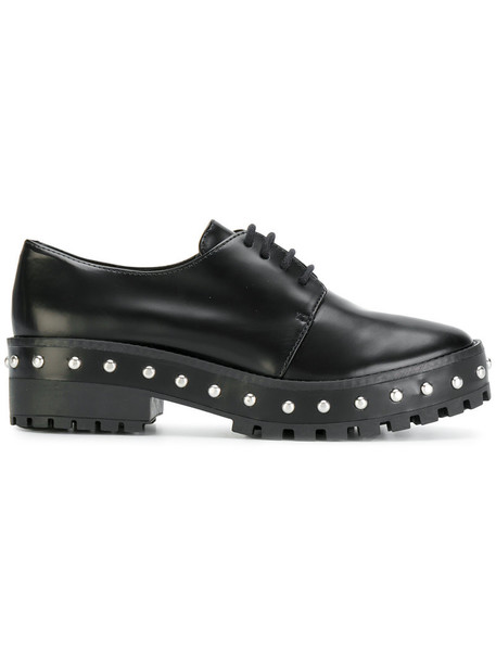 Schutz women pearl embellished shoes leather black
