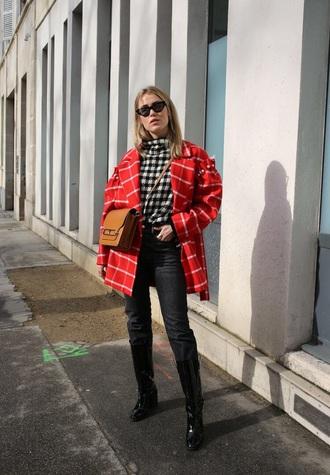 coat red coat top black boots boots bag checkered denim jeans