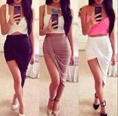 skirt,pink,twisted top,sexy skirt,heels on gasoline,top,sexy,summer outfits,wrap skirt,wrap skirts,high waist skirts,split skirt,banded skirt,high waisted,draped skirt,cut-out,cut out skirt,asymmetrical skirt,hi low skirt,maxi skirt,long skirt,beige,clothes,clubwear,outfit,shoes,prety skirt,girly,skirt tumblr,high heels,nude heels,black heels,black high heels