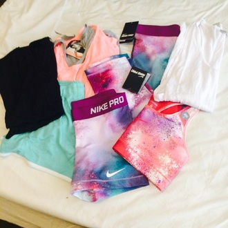 shorts nike clothes shirt colorful pink tumblr style galaxy print workout leggings workout top workout pants workout workout sports bra