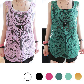New Womens Gradient Colors Sheer Embroidery Floral Lace Crochet Blouse T Shirt Top Mint Green Sleeveless Vest Drop Shipping-inT-Shirts from Apparel & Accessories on Aliexpress.com