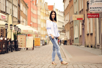 shiny sil blogger blouse jeans bag shoes jewels