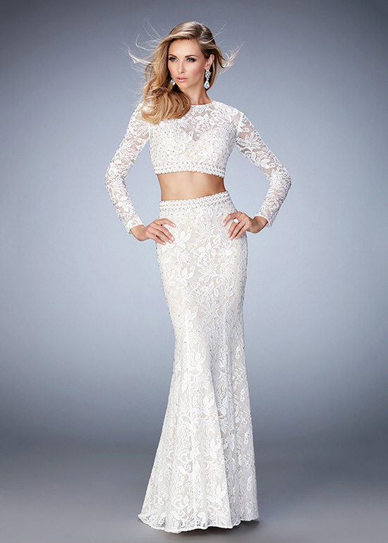 2016 Two Piece Long Sleeves Embellished Beaded Lace White Prom Dress ...