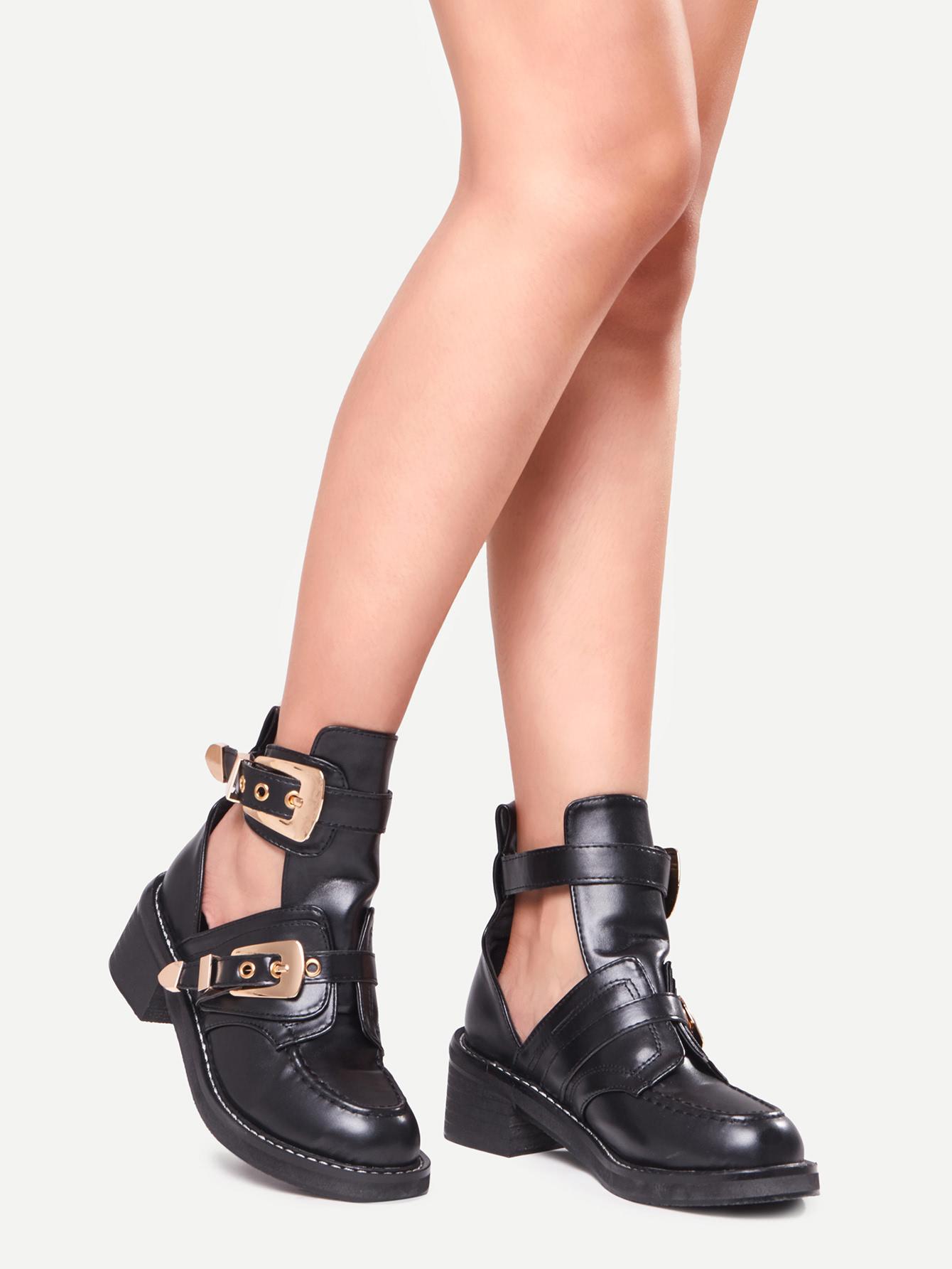 4e89fe20d3 Buckle Strap Chunky Heel Shoes -SheIn(Sheinside)
