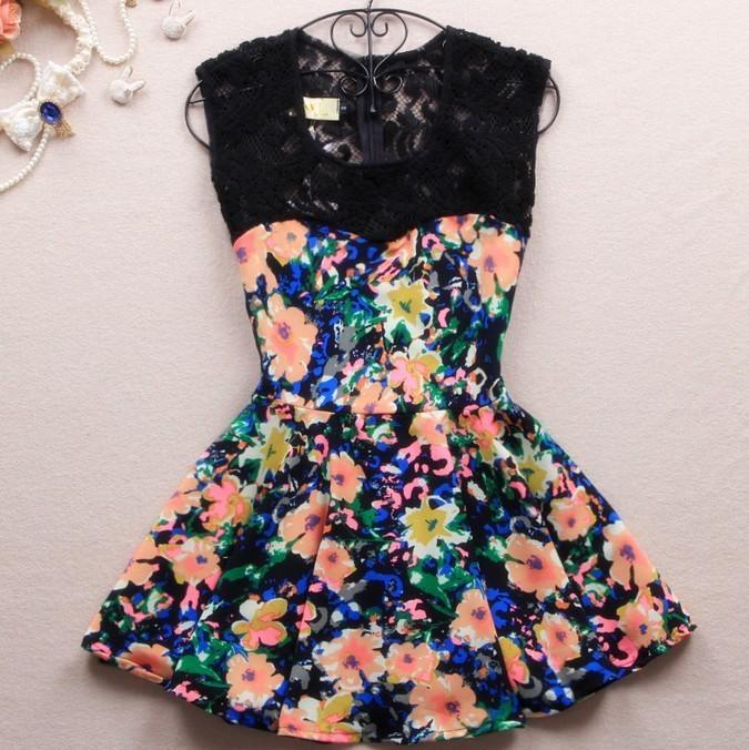 A 080302 Slim dress lace stitching color / Vogue Girl