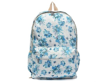 bag white blue backpack flowers