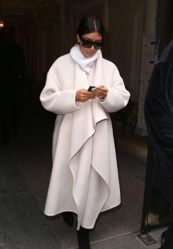 Kim Kardashian wool coat oversize luxe cream ruffle front Long ...