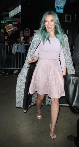 midi skirt hilary duff sandals top coat