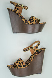 shoes,leopard print,strappy,wedges,sandals,summer,wedge sandals,straps,casual,prep,preppy,animal,animal print,print,pattern