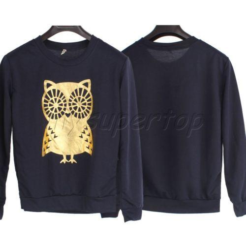 Casual girls shirt loose sweaters blouse printed owl long sleeved navy hoodies